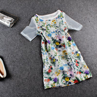Floral Printed Mesh Sleeve Casual Mini Dress
