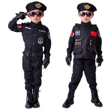 Policemen Costumes Boys Special Police Uniform Children's Service Army Long Sleeve Coat+Pants+Belt+Gloves+Hat Cosplay Clothing