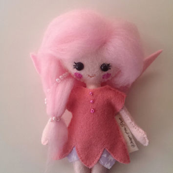 Elf Flower Fairy Doll. Felt Toy. Kids Nursery Decor. Gift in Box. Winter Magic. Soft Toy Fairy in Pink Dress with Pink Beads Buttons