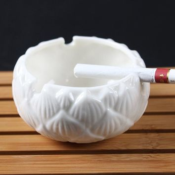 Ceramic Ashtray Home Daily White Porcelain Lotus Kung Fu Tea Ceremony