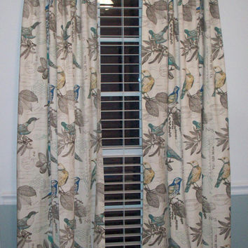 "Custom Bedroom curtain drapery Panels- 84"", 96"",108""-RICHLOOM Natural/Teal/Yellow Bird -Lined or Unlined"