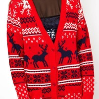 ASOS Christmas Cardigan With Reindeer Design