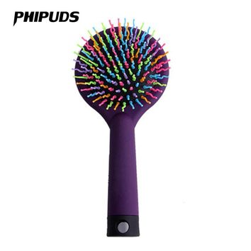 FX66 Rainbow Brush Hair Combs Airbag Anti Static Tangle Hairdressing Mirror