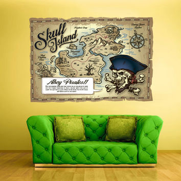 Full Color Wall Decals Vinyl Sticker Decor Art Bedroom Design  Kids Nursery Art Poster Pirates Ship Old Antique Map (col545)