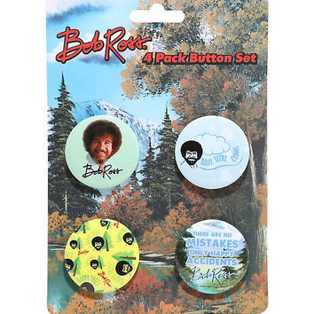 Bob Ross 4 Pack Button Set