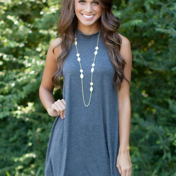 Solid Color Turtleneck Summer Dress