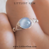 Blue Iridescent ring - unique rings - custom