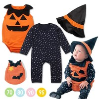 Halloween Pumpkin Hooded Baby Romper