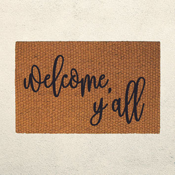 Welcome Y'all Doormat – Welcome Doormat - Cursive Text - Outdoor Rug – Hostess Gift - Housewarming Gift - Sassy Doormat - Southern Decor
