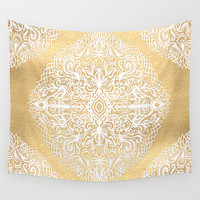 White Gouache Doodle on Gold Paint Wall Tapestry by Micklyn