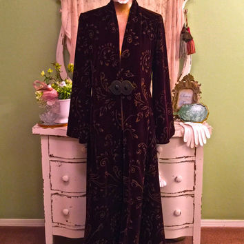 Art Deco Style Velvet Coat, Long Bohemian Jacket, Elegant Formal Coat, Marie Antoinette, Dramatic Gold Painted Wine Duster, EXQUISITE!  S/ML