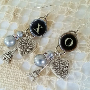 X and O Earrings, Typewriter Key Earrings, Hugs and Kisses Earrings, Love Jewelry, Dangle Earrings, Eiffel Tower, Heart, Beads, Steampunk XO