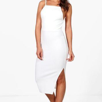 Layla Strappy Open Back Midi Dress | Boohoo