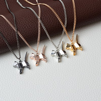 Origami Cat Kitty Pendant Necklace Suspend Creative Minimalist Animal Childlike Rose Gold Silver Black Pensonality Jewelry