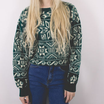 Vintage Green Nordic Cosby Sweater