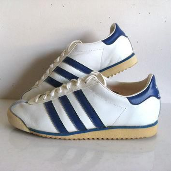 ddc43484ab33 Vintage 1970s ADIDAS ROM Sneakers White Blue Stripe Sport Shoes