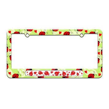 Ladybugs Red And Black - License Plate Tag Frame - Cute Ladybugs Design