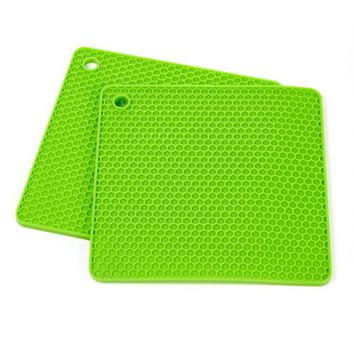 Set of Two (2) Multipurpose Silicone Pot Holder, Trivet, Jar Opener, Coaster, Spoon Rest, Placemat (Green)