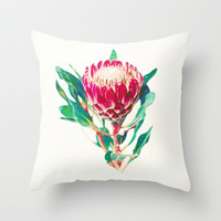 Vintage Protea Throw Pillow by Micklyn