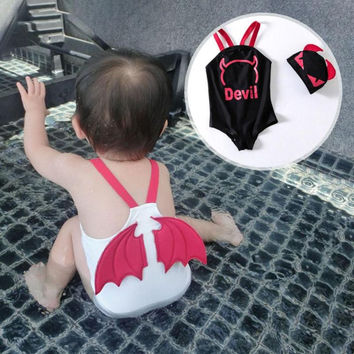 lovely boys' Swimwear One Piece Swimsuit Angel demon wings baby Swimming Training Kids Swimming Float Suits