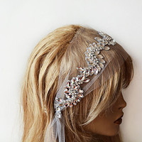 Bridal  Crystal Headband, wedding Headband, wedding Veil, Bridal Veil, Wedding Hair Accessory,  Bridal Hair Accessories