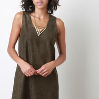 Suede Perforated Trim Shift Dress