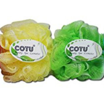 4 Pack of COTU ® Brand Exfoliating Bath Shower Mesh Pouf Sponge (Color Style # 4)