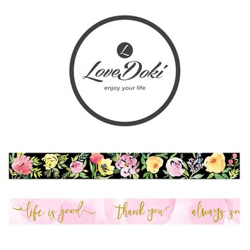 Lovedoki Flower Series Washi Tape Scrapbooking Washi Tape Foil Masking Tape Notebook Decorative Lace Adhesive Tape School Tool