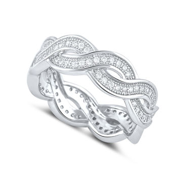 Sterling Silver Simulated Diamond Twisted Eternity Ring