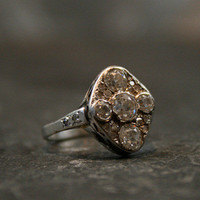 Edwardian Platinum & Diamond Cluster Engagement Ring by Ruby Gray's | Ruby Gray's Antique & Vintage Rings