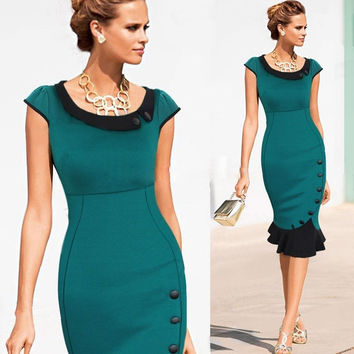 Fashion Special Button Wear To Work Celebrity Evening Party Wiggle Pencil Dress