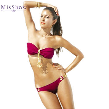 Bandeau Strapless Bikinis Set 2017 Gold Metal Anchor Chain Swimwear Push Up Sexy Women Swimsuit Bathing Suits Beach Wear biquini