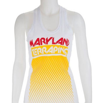 Maryland Terrapins Ladies Fade Out Racer Back (White) / Tank