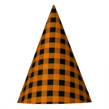 Orange and Black Gingham Checked Pattern Party Hat