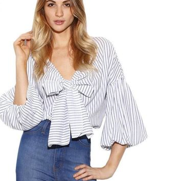 SheIn Vertical Striped Women Shirts White Women Tops Ladies Bow Tie Front V Neck Three Quarter Length Lantern Sleeve Blouse