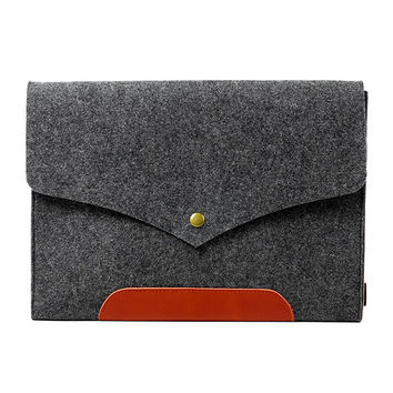 Macbook Felt and Leather Cover Case