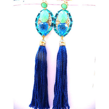 Statement earrings, Big earrings, Huge earrings, Shoulder Earrings, Long earrings, clip on earrings, big clips, Tassel earrings, Fringe