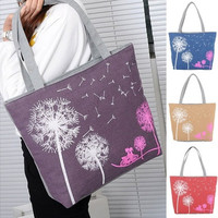 Woman Fashion  Canvas Dandelion Boho Tote Zipper Shoulder Handbag Bag [8833522252]