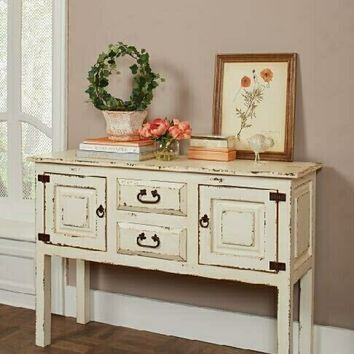 Rustic white wood finish 2 drawer hall console table with 2 side cabinets