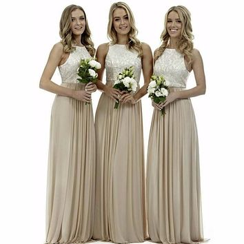 elegant simple a line champagne bridesmaid dresses long prom dresses 2017 chiffon wedding guest dress for party vestido de dama