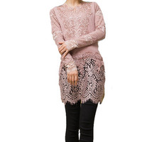 Vintage Lace Skirt Sweater with Lace Overlay Collar & Sleeves