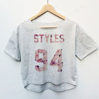 Harry Styles One Direction Band Floral Tees Crop Top Fashion T-shirt Woman
