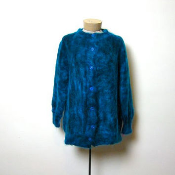 vintage blue mohair cardigan sweater coat. furry sweater.