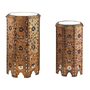 Set Of 2 Moroccan Side Table With Mirrored Tops Gold leaf hand applied to ark,brone base w/clear mirror top