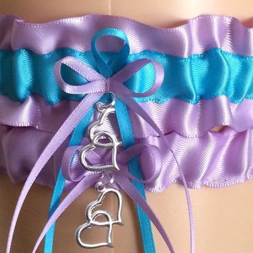 Orchid Purple and Turquoise Wedding Garter Set, Bridal Garter Sets, Prom Garter, Keepsake Garter, Weddings, Engagement