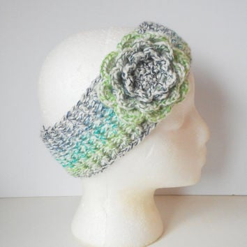 Winter Ear Warmer Headband in Summer Medley with Large Rose, ready to ship.