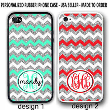 WHITE SILVER MINT RED CHEVRON CUSTOM MONOGRAM CASE COVER FOR iPhone 6S 6 SE 5 5C