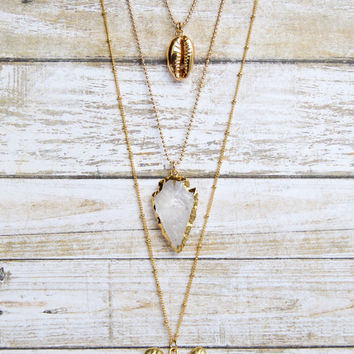 Gold Shell Necklace » Real Seashell Necklace » Cowrie Shell Necklace » Shell Jewelry » Layering Necklaces » Beach Necklaces » Boho Jewelry