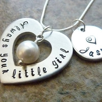 Mother of the Bride Always Your Little Girl Personalized Necklaces Wedding Jewelry Swarovski pearl Necklaces