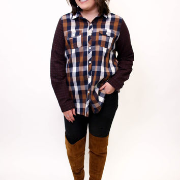 Burgundy Long Sleeve Color Block Button Down